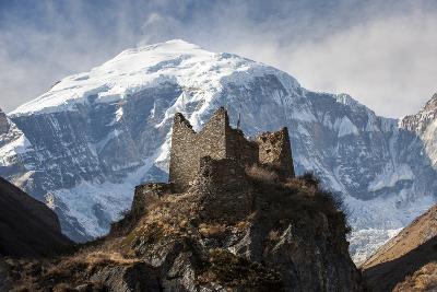 A Ruined Ancient Dzong at Jangothang with the Face of Jomolhari Mountain Visible Behind