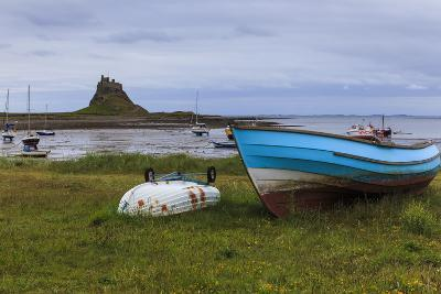 Fishing Boats Onshore and Beach at Low Tide with Lindisfarne Castle and Farne Islands, Holy Island