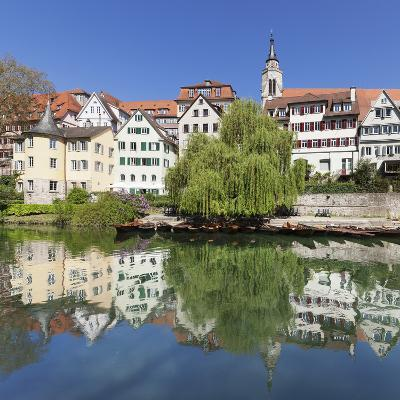 Old Town with Hoelderlinturm Tower and Stiftskirche Church Reflecting in the Neckar River