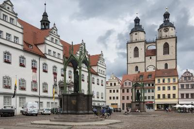 Town Square with Stadtkirke and Town Hall, Staue of Martin Luther, Lutherstadt Wittenberg