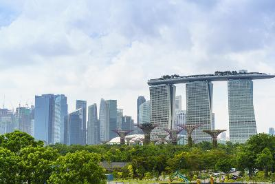 View over Gardens by Bay to Three Towers of Marina Bay Sands Hotel and City Skyline Beyond