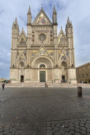 View of the Facade of the Gothic Cathedral with Golden Mosaics and Bronze Doors, Orvieto