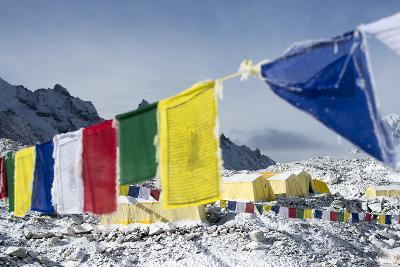 Prayer Flags and the Everest Base Camp at the End of the Khumbu Glacier That Lies at 5350M
