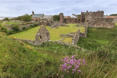 Lindisfarne Priory, Early Christian Site, and Village, Elevated View, Holy Island