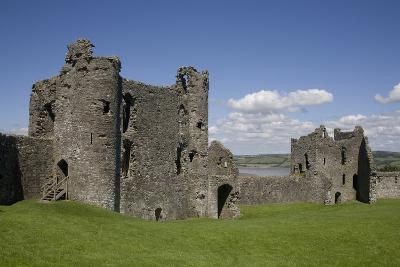 Towers and Wall Inside Llansteffan Castle, Llansteffan, Carmarthenshire, Wales, United Kingdom