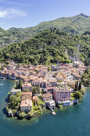 Aerial View of the Picturesque Village of Varenna Surrounded by Lake Como and Gardens