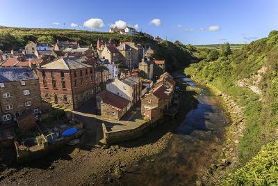 Steep Streets of Fishing Village Nd River, Elevated View in Summer, Staithes