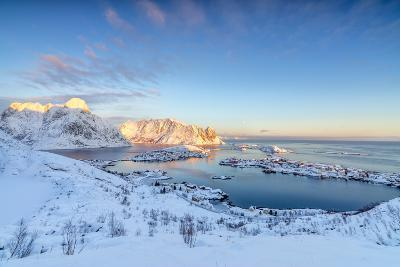 The Colors of Dawn Frame the Fishing Villages Surrounded by Snowy Peaks, Reine, Nordland