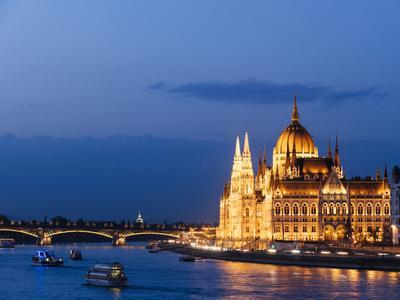 Hungarian Parliament Building and Danube River at Night, UNESCO World Heritage Site, Budapest