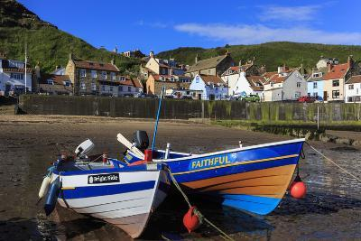 Boats at Low Tide, Cliffs, Steep Cove of Coastal Fishing Village in Summer