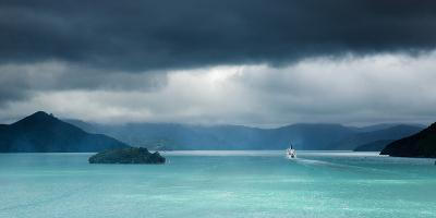 Queen Charlotte Sound with a Ferry Boat Navigating its Way Through to Cook Straits