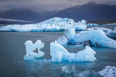 Icebergs Floating in the Glacier Lagoon Beneath Breidamerkurjokull Glacier, Jokulsarlon