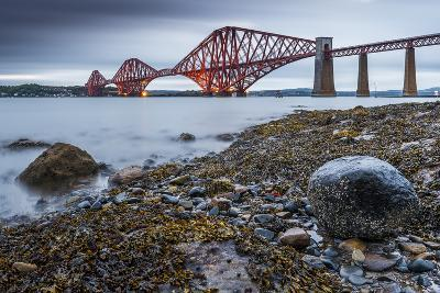 First Light over the Forth Rail Bridge, UNESCO World Heritage Site, and the Firth of Forth