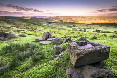 View over Stanage Edge Millstones at Sunrise, Peak District National Park, Derbyshire