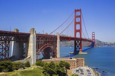 Looking across San Francisco Golden Gate Bridge with Fort George at Edge of Pacific Ocean