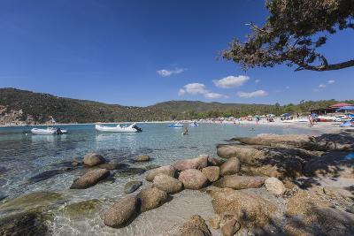 Boats in the Turquoise Sea Surround the Sandy Beach of Cala Pira Castiadas, Cagliari, Sardinia