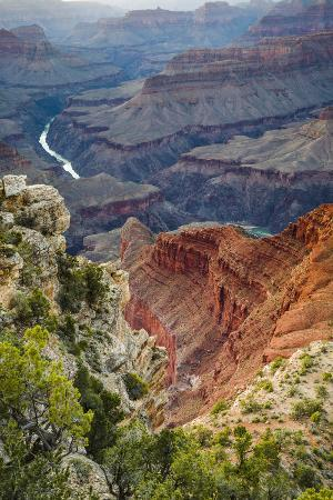 Looking Down onto Inner Canyon and Colorado River from Mohave Point, Grand Canyon National Park