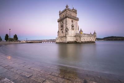 Colorful Dusk on the Tower of Belem, UNESCO World Heritage Site, Reflected in Tagus River
