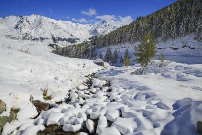 Aerial View of the Snowy Woods and High Peaks, Vamlera, Febbraro Valley, Spluga Valley, Valtellina