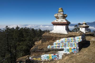 Colourful Mani Wall on a Chorten in the Solukhumbu Region of Nepal, Asia