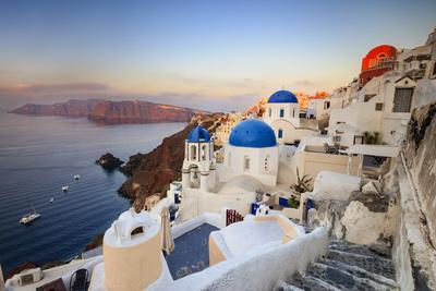 White Houses and Blue Domes of the Churches Dominate the Aegean Sea, Oia, Santorini