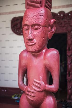 Wooden Carving at a Maori Meeting House, Waitangi Treaty Grounds, Bay of Islands