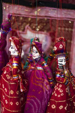 Colorful Puppets Hanging in a Shop in Udaipur, Rajasthan, India, Asia