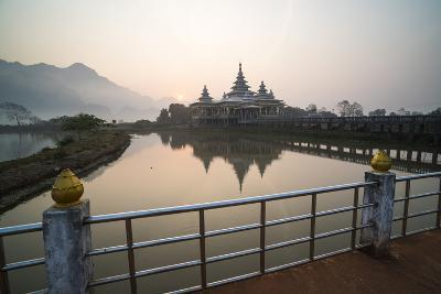 Kyauk Kalap Buddhist Temple in the Middle of a Lake at Sunrise, Hpa An, Kayin State (Karen State)