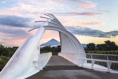 Te Rewa Rewa Bridge at Sunset with Mount Taranaki (Mount Egmont) Behind, Taranaki Region