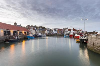 Fishing Boats at Dusk in the Harbour at Pittenweem, Fife, East Neuk, Scotland, United Kingdom
