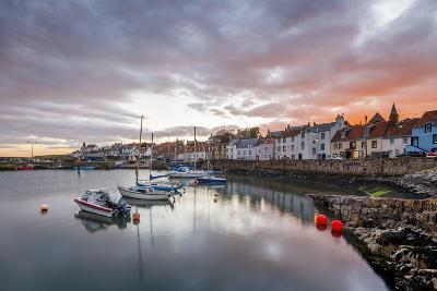 Sailing Boats at Sunset in the Harbour at St. Monans, Fife, East Neuk, Scotland, United Kingdom