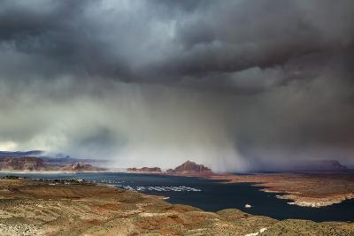 A Storm Obscures Grand Staircase-Escalante National Monument as it Sweeps across Wahweap Bay