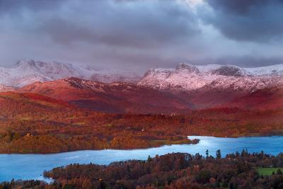 Looking across Lake Windermere to Langdale Pikes on a Winters Morning, Lake District National Park