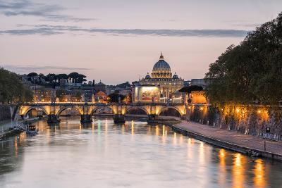 Dusk Lights on Tiber River with Bridge Umberto I and Basilica Di San Pietro in the Background, Rome
