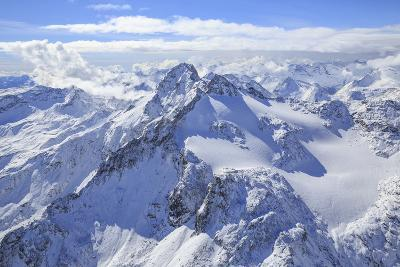 Aerial View of Peak Ferra and Peaks Piani Covered with Snow, Spluga Valley, Chiavenna