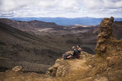 Couple Resting on the Tongariro Alpine Crossing, Tongariro National Park