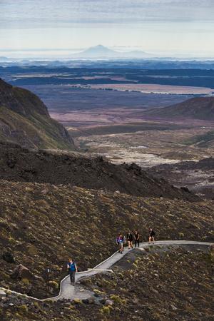 Hikers on the Tongariro Alpine Crossing Trek, Tongariro National Park, UNESCO World Heritage Site