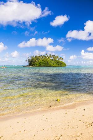 Tropical Island of Motu Taakoka Covered in Palm Trees in Muri Lagoon, Rarotonga, Cook Islands