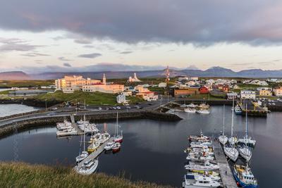 The Harbor Town of Stykkisholmur as Seen from Small Island of Stykkia on Snaefellsnes Peninsula