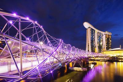 South East Asia, Singapore, Marina Bay Sands and Helix Bridge
