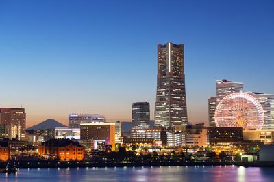 Asia, Japan, Honshu, Yokohama Bay, City Skyline and Mt Fuji, Landmark Tower