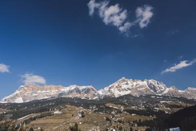 View of the Dolomites from La Ila, Alta Badia, Dolomites, South Tyrol, Italy