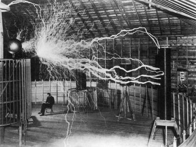 Bolts of Electricity Discharging in the Lab of Nikola Tesla