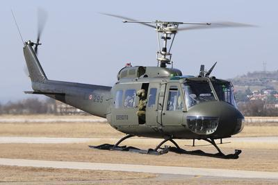An Italian Army Ab-205 Helicopter Taking Off