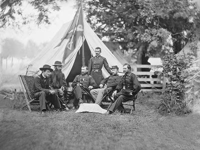 American Civil War Generals and Officers Sitting around their Encampment