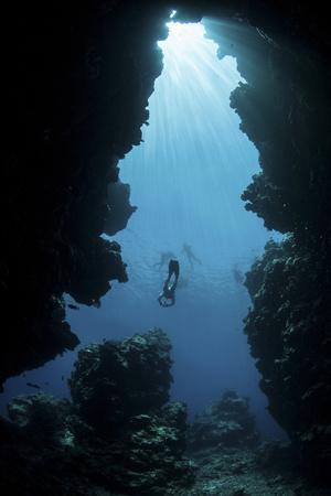 Sunlight Descends Underwater and into a Crevice on Palau's Barrier Reef