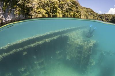 A Snorkeler Swims Above a Shipwreck in Palau's Inner Lagoon