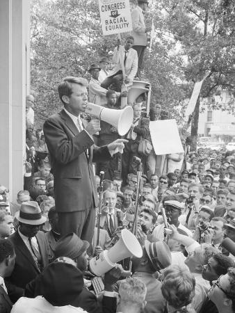 Robert F. Kennedy Speaking at a Congress of Racial Equality Rally