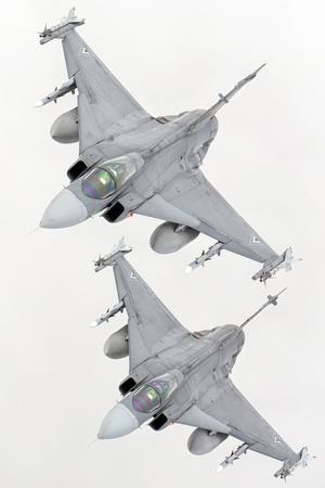 A Pair of Hungarian Air Force Jas-39 Gripen over Lithuania