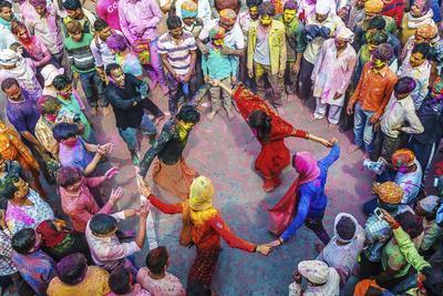 Asia, India, Uttar Pradesh, Nandgaon, Dancing During Holi Festival